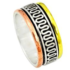 925 sterling silver victorian two tone spinner band ring jewelry size 7.5 d4240