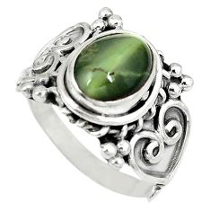 Clearance Sale- Green cat's eye oval shape 925 sterling silver ring jewelry size 8.5 d4242