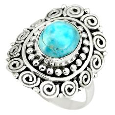 Clearance Sale- Natural blue larimar 925 sterling silver ring jewelry size 8.5 d4286