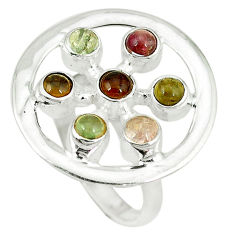 Clearance Sale- Natural multi color tourmaline 925 sterling silver ring size 9 d4315