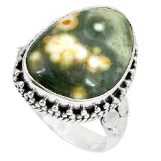 Clearance Sale- 925 silver natural multi color ocean sea jasper (madagascar) ring size 8.5 d4440