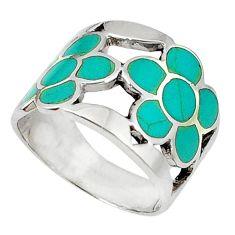 Clearance Sale- 925 sterling silver fine green turquoise enamel flower ring size 8 d5325