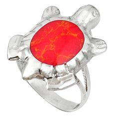 Red sponge coral enamel 925 sterling silver tortoise ring size 7 d5329