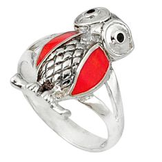 Clearance Sale- Red sponge coral onyx enamel 925 sterling silver owl ring size 6.5 d5331