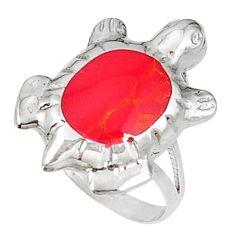 Clearance Sale- Red sponge coral enamel 925 silver tortoise ring jewelry size 6 d5335