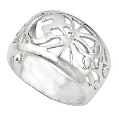 Indonesian bali style solid 925 sterling plain silver ring size 7 d5509