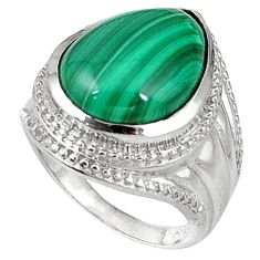 Clearance Sale- Natural green malachite (pilot's stone) 925 silver ring jewelry size 8 d5588
