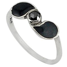 Clearance Sale- 0.34cts natural black diamond black enamel 925 silver ring jewelry size 8 d5642