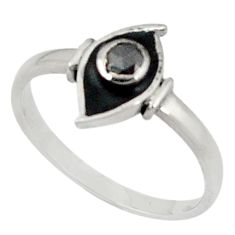 Clearance Sale- 925 sterling silver 0.31cts natural black diamond black enamel ring size 8 d5659