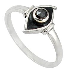 Clearance Sale- Natural black diamond black enamel 925 silver ring size 8.5 d5675