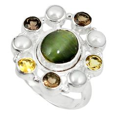 Clearance Sale- Green cat's eye smoky topaz pearl citrine 925 sterling silver ring size 8.5 d6027