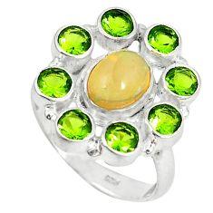 Clearance Sale- lor ethiopian opal peridot 925 silver ring size 6.5 d6031