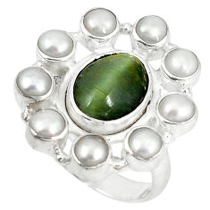 Clearance Sale- Green cat's eye oval white pearl 925 sterling silver ring jewelry size 7.5 d6032
