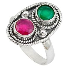Clearance Sale- ver red ruby green emerald quartz ring jewelry size 8 d7953