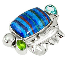 Clearance Sale- Natural multicolor rainbow calsilica topaz 925 silver fish ring size 7.5 d8002
