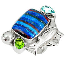 Clearance Sale- Natural multi color rainbow calsilica pearl 925 silver ring size 6.5 d8009