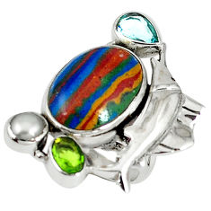 Clearance Sale- Natural multi color rainbow calsilica pearl 925 silver fish ring size 7 d8013