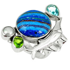 Clearance Sale- Natural multi color rainbow calsilica pearl 925 silver fish ring size 6 d8015