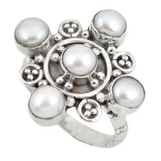 Clearance Sale- ver natural white pearl round ring jewelry size 7 d8830