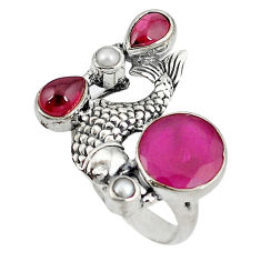 Clearance Sale- 925 sterling silver red ruby quartz garnet fish ring jewelry size 7 d8840