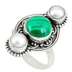 Natural green malachite (pilot's stone) pearl 925 silver ring size 7 d8901