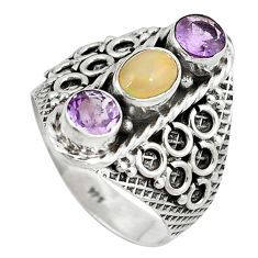 Clearance Sale- lor ethiopian opal amethyst 925 silver ring size 9 d9033