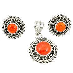 Natural orange cornelian (carnelian) 925 silver pendant earrings set d22312