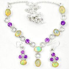 Natural ethiopian opal amethyst 925 silver earrings necklace set d23978