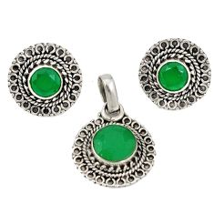 Natural green chalcedony 925 sterling silver pendant earrings set d4048