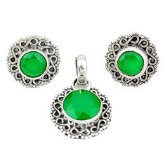 925 sterling silver natural green chalcedony round pendant earrings set d4058
