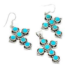 Blue sleeping beauty turquoise 925 silver cross pendant earrings set d4071