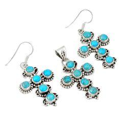 Blue sleeping beauty turquoise 925 silver cross pendant earrings set d4079