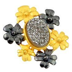 Druzy rhodium 14K gold over brass handmade  flower pendant jewelry f4203