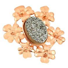 Druzy 14K gold over brass handmade flower pendant jewelry f4207
