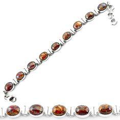 Clearance-Natural brown pietersite (african) 925 sterling silver tennis bracelet k73985