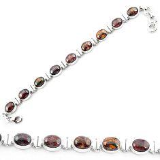 Clearance-Natural brown pietersite (african) 925 sterling silver tennis bracelet k73991