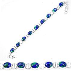 Clearance-Natural green azurite malachite chrysocolla 925 silver tennis bracelet k74011