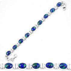 Clearance-Natural green azurite malachite chrysocolla 925 silver tennis bracelet k74014