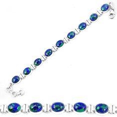 Clearance-Natural green azurite malachite chrysocolla 925 silver tennis bracelet k74017
