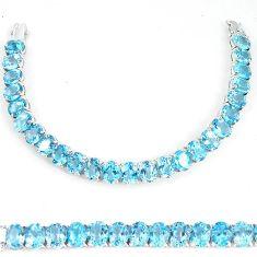Clearance-113.10cts natural top grade blue topaz sterling silver tennis bracelet k74101
