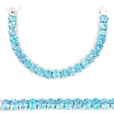 Clearance-Aaa 97.22cts natural blue topaz 925 sterling silver tennis bracelet  k74104
