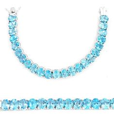 Clearance-Fine 97.55cts natural blue topaz sterling silver tennis bracelet jewelry k74105