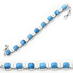 Clearance-925 sterling silver natural blue owyhee opal bracelet jewelry k77315