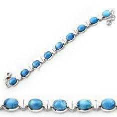 Clearance-Natural blue owyhee opal 925 sterling silver bracelet jewelry k77316