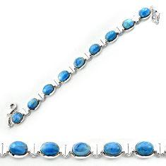 Clearance-Natural blue owyhee opal 925 sterling silver bracelet jewelry k77319