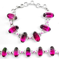 Clearance-Watermelon tourmaline (lab) amethyst 925 silver tennis bracelet k83163