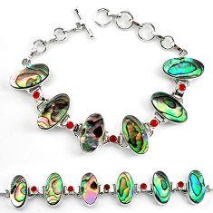 Clearance-Natural green abalone paua seashell cornelian 925 silver tennis bracelet k83174