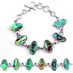 Clearance-Natural green abalone paua seashell amethyst 925 silver tennis bracelet k83175