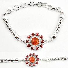 Clearance-Orange amber red garnet round 925 sterling silver bracelet jewelry k83356