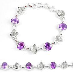 925 silver natural white herkimer diamond amethyst tennis bracelet k85767